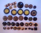 Button lot Black and gold buttons Variety button lot Glass Metal Plastic Sewing supplies