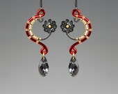 Kornephoros II v2: Bold red and gold industrial earrings with silver night Swarovski crystal accents