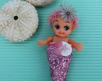 Vintage Inspired Kewpie Tiny Pink Mermaid with Sandollar