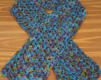 Handmade Crocheted MultiColored Scarf/Scarflett/Blue/Purple/Green
