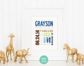 Mixed Typography Birth Announcement Print
