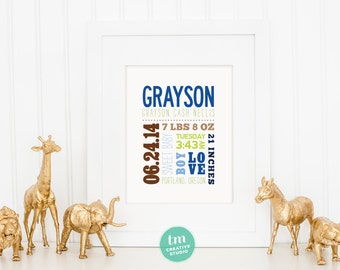 Custom Mixed Typography Birth Announcement // Nursery Print // Birth Stat Poster // Baby Boy // 8x10 Print