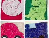 SALE Boy Felt quiet puzzle book-4 felt puzzles baseball, car, dinosuar, and train Felt Puzzle game party favors, school busy bags or quiet b