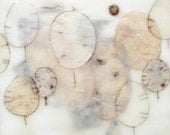 Encaustic art: Poetry in Motion II, encaustic painting, silver dollar seed pods, winter white, money plant, abstract art