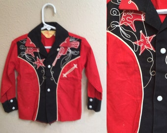 Vintage Toddler Western Shirt.Cowboy Rodeo Shirt. Red and Black Size 3T