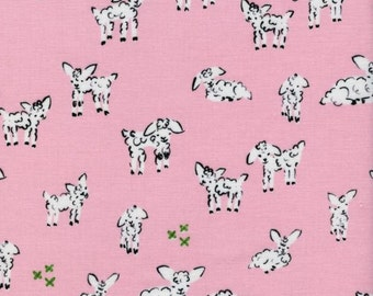 Clover Little Lamb in Pink by Alexia Marcelle Abegg for Cotton + Steel - 1 Yard