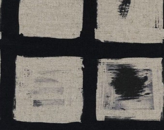 "SHORT PIECE Black and White, Woodblock by Melody Miller for Cotton + Steel Cottons - 31"" x 44"