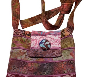 Small Batik Purse in Mauve with Adjustable Straps