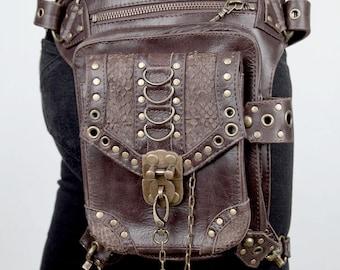BLASTER 3.0 Brown Leather Shoulder Holster and Hip Bag w/ Snakeskin Detail