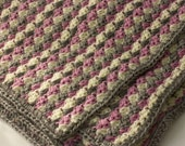 Throw Blanket, Crochet Lap  Blanket, Small  Afghan, Reading Blanket, Hand Crocheted Throw, Custom Chose Color