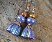 Purple Bell Flower Lampwork Earrings