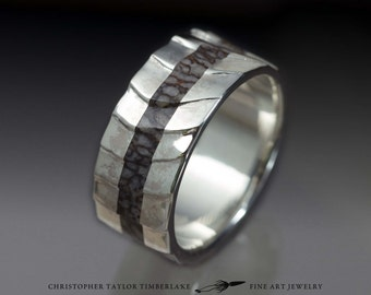 Cuttlefish Sterling Silver and Dinosaur Bone Inlay Ring