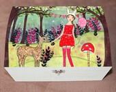Woodland Girl Large Jewelry Box, Trinket Box Fairy Tale Girl with Deer