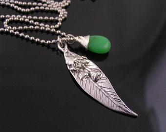 Australian Jewelry, Charm Necklace with Eucalyptus Leaf and Australian Gemstone Chrysoprase