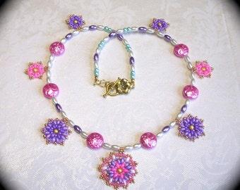 OOAK Flower Medallion  Spring Summer Necklace for Everyday Wear  Fashion Boho Hipster Native Fashion