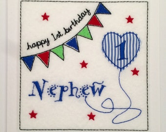 Bunting Birthday Card (Nephew) - Embroidered