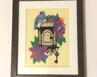 Bird - Framed Embroidered Uncaged Bird