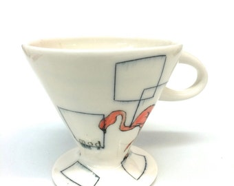 Mod Flamingos Coffee Pour Over Translucent Porcelain