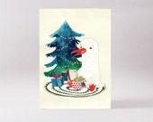Christmas seagull card - blank Christmas card