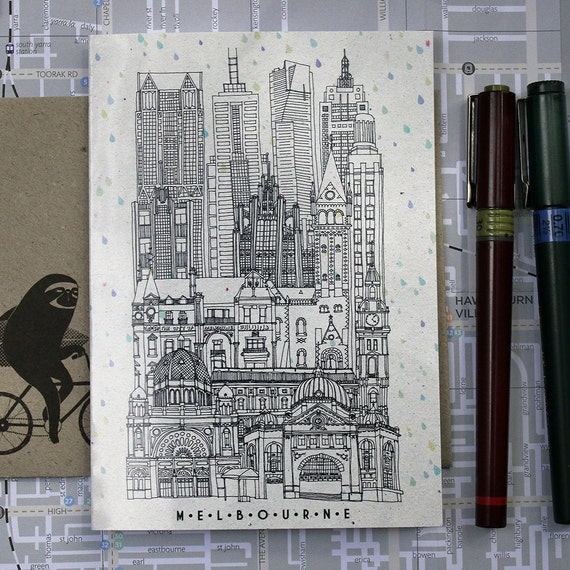 Architecture card - Melbourne city illustration  blank greeting card