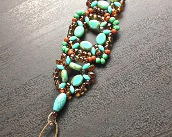 Women beaded bracelet handmade beaded bracelet blue bracelet boho bracelet one of a kind bracelet