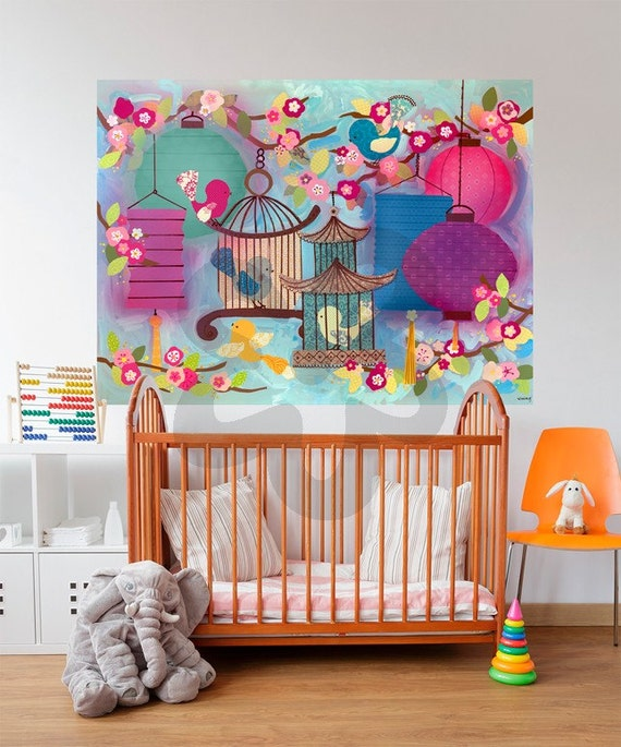 Asian birdie wall decal