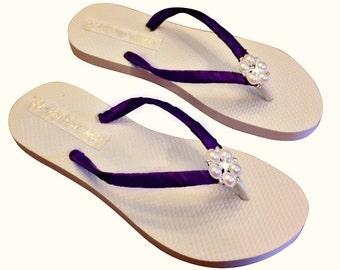 Plum Bridesmaid Flip Flops - Plum Bridal Flip Flops - Pearl Bridesmaid Flip Flops - Plum Wedding - Beach Wedding - 30 Colors Available