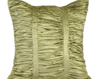 Decorative Throw Pillow Covers Accent Pillow Couch Sofa Bed Pillow 16x16 Sage Green Velvet Pillow Cover Sage Green Beauty Ruched Pill