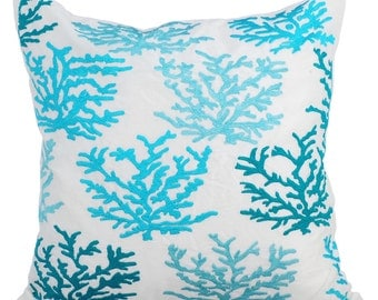 Aqua Couch Sofa Cushion Covers 16 x 16 Pillow Covers White Linen Embroidered Decorative Pillows Caribbean Coast