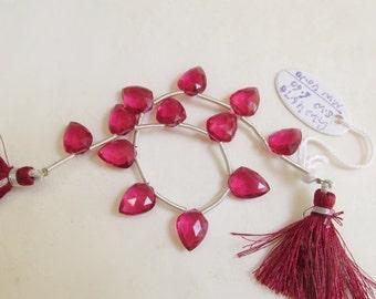25% Off SALE Rubelite Pink Tourmaline Quartz  Briolette Beads Chevron Shape 12mm, 1/2 Strand