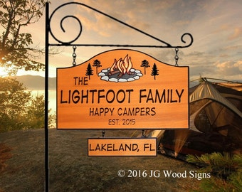 Family Name - Personalized Custom Camping Sign - Campfire  w/ one add on sign - with Round Garden Holder - Custom Carved Wood - Lightfoot