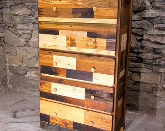 Patchwork Tallboy Dresser From Reclaimed Wood