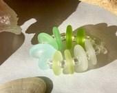 Mixed Aqua Green Seaglass Disc Pairs Handmade Lampwork Glass Beads SRA
