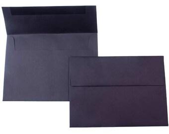 PPE49  Qty. of 50 A7 70 lb. Black Paper Envelopes 5 1/4 x 7 1/4 (13.34cm x 18.42cm)