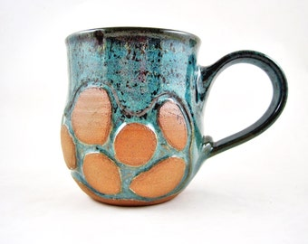 Large Pottery mug, Handmade mug, Ceramic mug, coffee mug in teal blue 20 oz - In stock