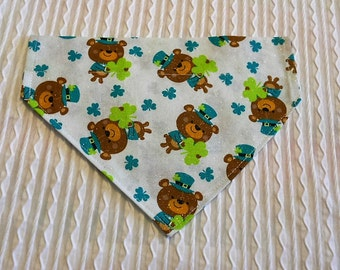 Dog Bandana with Lucky Bears and Shamrocks Sizes XS to XL in Over Dog Collar Style