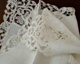 Antique White Lace Hankie, Vintage 1920s, fine machine made, bride wedding something old