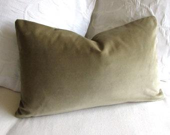 VELVET decorative Pillow 12x20 includes insert sage green velvet fabric