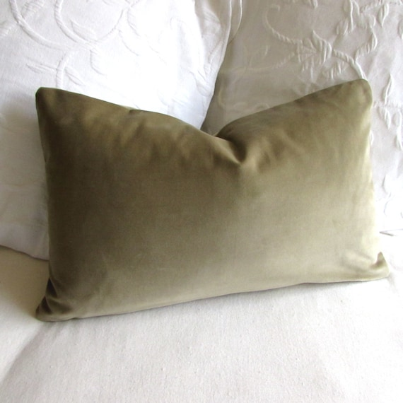 VELVET decorative Pillow 12x20 includes insert sage green