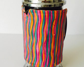 French Press Coffee cosy,  Coffee Pot Cozy, Coffee Pot cosy, Stripes with daisies