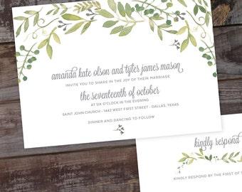 Watercolor Floral Wedding Invitation - DIY PRINTABLE TEMPLATE, Calligraphy, Script, formal