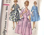 Vintage Brunch Coat Pattern Simplicity 3736 House Dress Robe 1960s Mad Men New Look / Bust 32