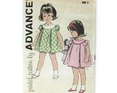 1960s Girls Vintage Dress Sewing Pattern / Advance 9803 / Toddler Dress with Round Yoke // UNCUT FF / Size 2