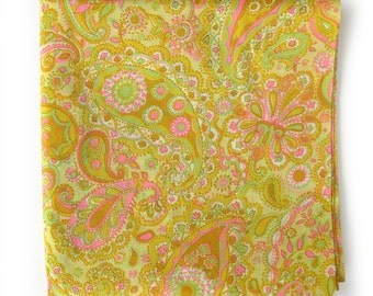 1960s Vintage Fabric / Sheer Large Paisley Print Cotton Fabric in Yellow, Gold and Pink