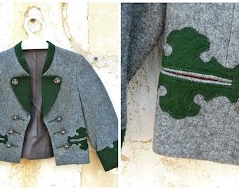 Reserverd to MARI   Vintage 1970 Tyrol wool black forest october fest children jacket size 2 /3 years