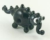 Black Monster Lampworked Glass Figurine Bead