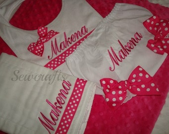 Lydia Personalized Burp Cloth Bib and Diaper cover - Choice of name and/or  up to 3 initials