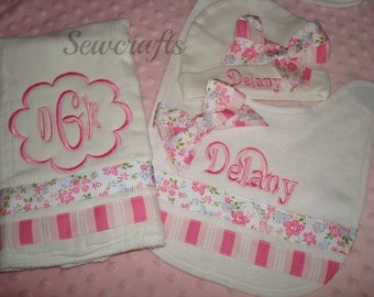 Delany Personalized Premium quality Boutique Style 6-ply   Burp cloth Bib and Hat - Name and/or up to 3 initials