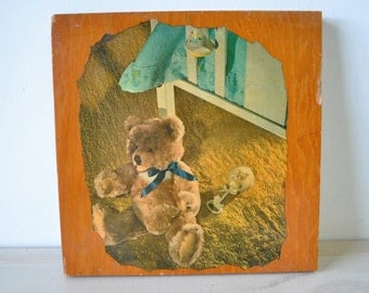 adorable 1950s vintage decoupage on wood baby nursery picture / bear / rattler / baby bed