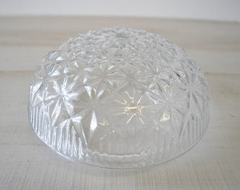 lovely 1950s retro vintage cut glass starburst mushroom shaped light fixture globe
